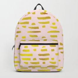 Gold & Light Pink Geometric Pattern Backpack