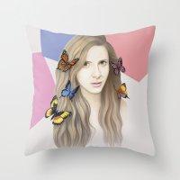 karen Throw Pillows featuring Karen by Anya Timofeeva