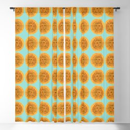 Sun Drawing - Gold and Blue Blackout Curtain