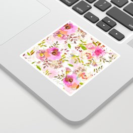 Pink Watercolor Spring Florals Sticker