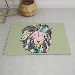 Lion Head King OF The Jungle In Teal, Pink, And Purple Pastels Rug