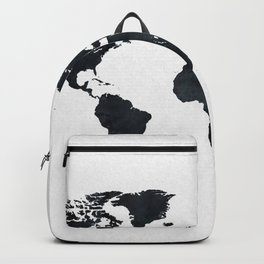 World Map in Black and White Ink on Paper Backpack