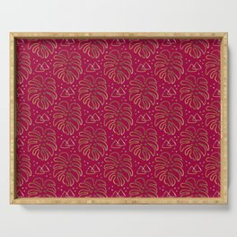 Gold Monstera on Rasberry Pink Serving Tray