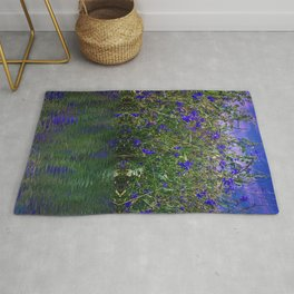 Nature Blue And Green Water Reflection Rug