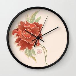 Red Peony Wall Clock
