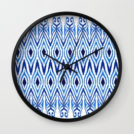 Ikat Blue Wall Clock