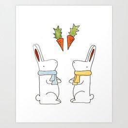 Bunnies and Carrots Art Print
