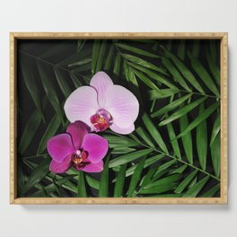 Orchids with palm leaves Serving Tray