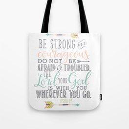 Joshua 1:9 Christian Bible Verse Typography Design Tote Bag