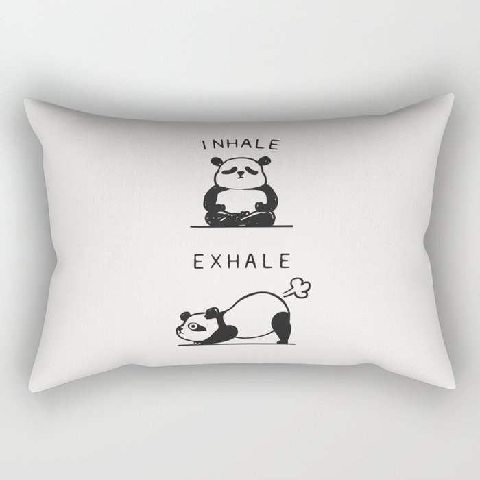 Inhale Exhale Panda Rectangular Pillow