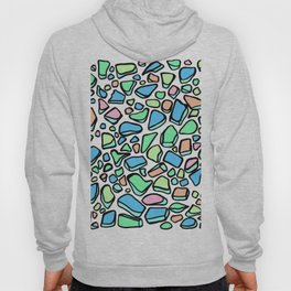 Sea Glass - Blues Aqua Green on White Hoody