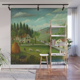 "Henri Rousseau ""Pastoral landscape with stream, fisherman and stroller"" Wall Mural"