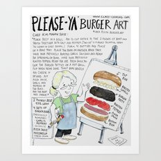 PleaseYa Burger aka Pizza Burger Art Print