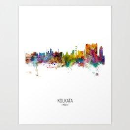 Kolkata (Calcutta) India Skyline Art Print