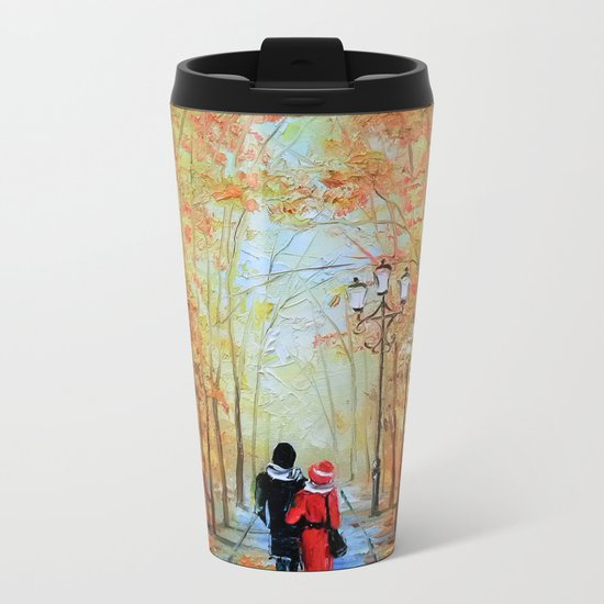 romantic autumn stroll Metal Travel Mug