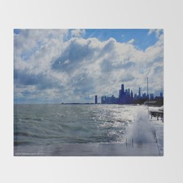 When Sandy Made Waves in Chicago #4 (Chicago Waves Collection) Throw Blanket
