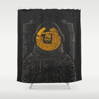 dark side of the moon Shower Curtains featuring Dark side of the moon by Rodrigo Ferreira