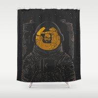 kubrick Shower Curtains featuring Dark side of the moon by Rodrigo Ferreira
