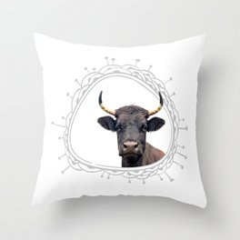 Cow Farm Animal Portrait Peekaboo Whimsical Rustic Modern Cute Throw Pillow