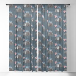 Monster Pickup Truck with USA Flag Cartoon Sheer Curtain