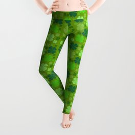 Saint Patrick's Day, Four Leaf Clovers - Green Leggings