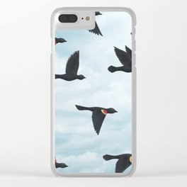 red-winged blackbirds and blue sky Clear iPhone Case