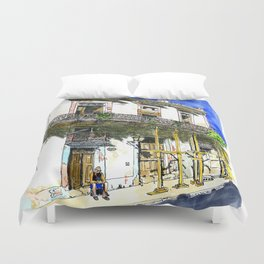 Man Sitting in Front of His House, Habana Vieja, Cuba Duvet Cover