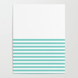 Turquoise Blue Half Stripes Poster