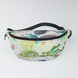 Happy Jumping Frogs on a Tropical Forest Fanny Pack