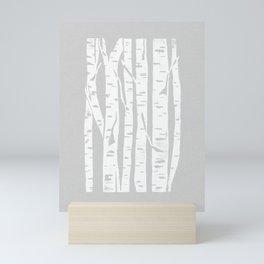 Woodcut Birches Grey Mini Art Print