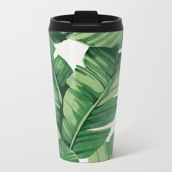 Tropical banana leaves Metal Travel Mug