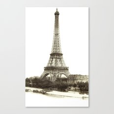 Vintage Eiffel Tower French Post Card Canvas Print