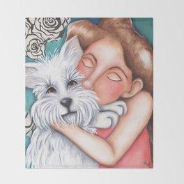 Sweet Coconut Original Art Schnauzer and girl Portrait Throw Blanket