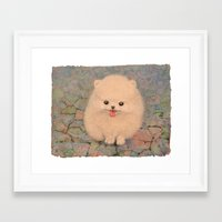 pomeranian Framed Art Prints featuring Pomeranian by irshi
