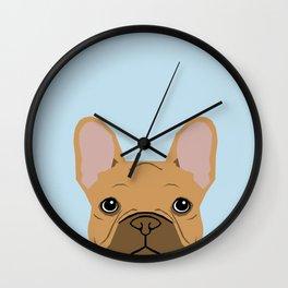 fawn frenchie dog art portrait - french bulldog art print Wall Clock