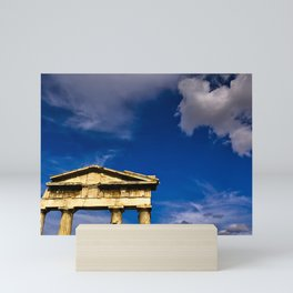 """Gate of """"Archegetis Athena"""" in ancient site of Roman Forum in Athens, Greece Mini Art Print"""