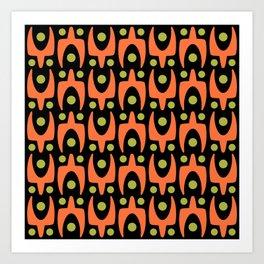 Mid Century Modern Abstract Pattern 545 Green Orange and Black Art Print