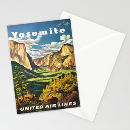 Yosemite National Park Vintage Travel Poster Landscape Illustration Stationery Cards