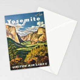Yosemite National Park Vintage Travel Poster Landscape Illustration Stationery Cards