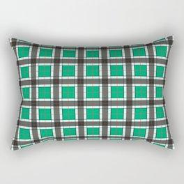 Jade Green Plaid Pattern Rectangular Pillow