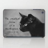 da vinci iPad Cases featuring Leonardo da Vinci Cat Quote by KimberosePhotography