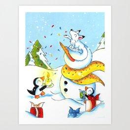 Snowy Surprise Party Art Print