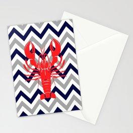 Summer Beach Grey Navy Blue Chevron Nautical Seaside Lobster Stationery Cards