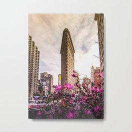 Flatiron and Flowers Metal Print