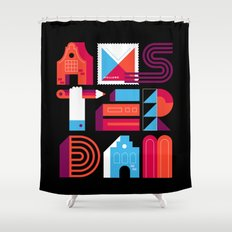 Postcards from Amsterdam / Typography Shower Curtain