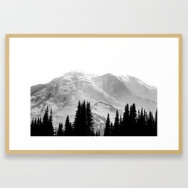 Mount Rainier Black and White Framed Art Print