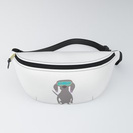 Weim in Holly's Aqua Sleeping Mask Grey Ghost Weimaraner Dog Hand-painted Pet Drawing Fanny Pack