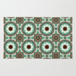 Decorative Christmas patterns in red, green and white Rug
