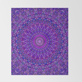 Lace Mandala in Purple and Blue Throw Blanket
