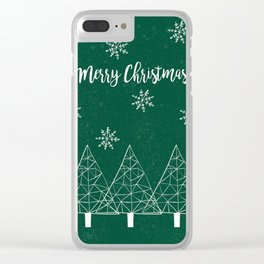 Merry Christmas Green Clear iPhone Case